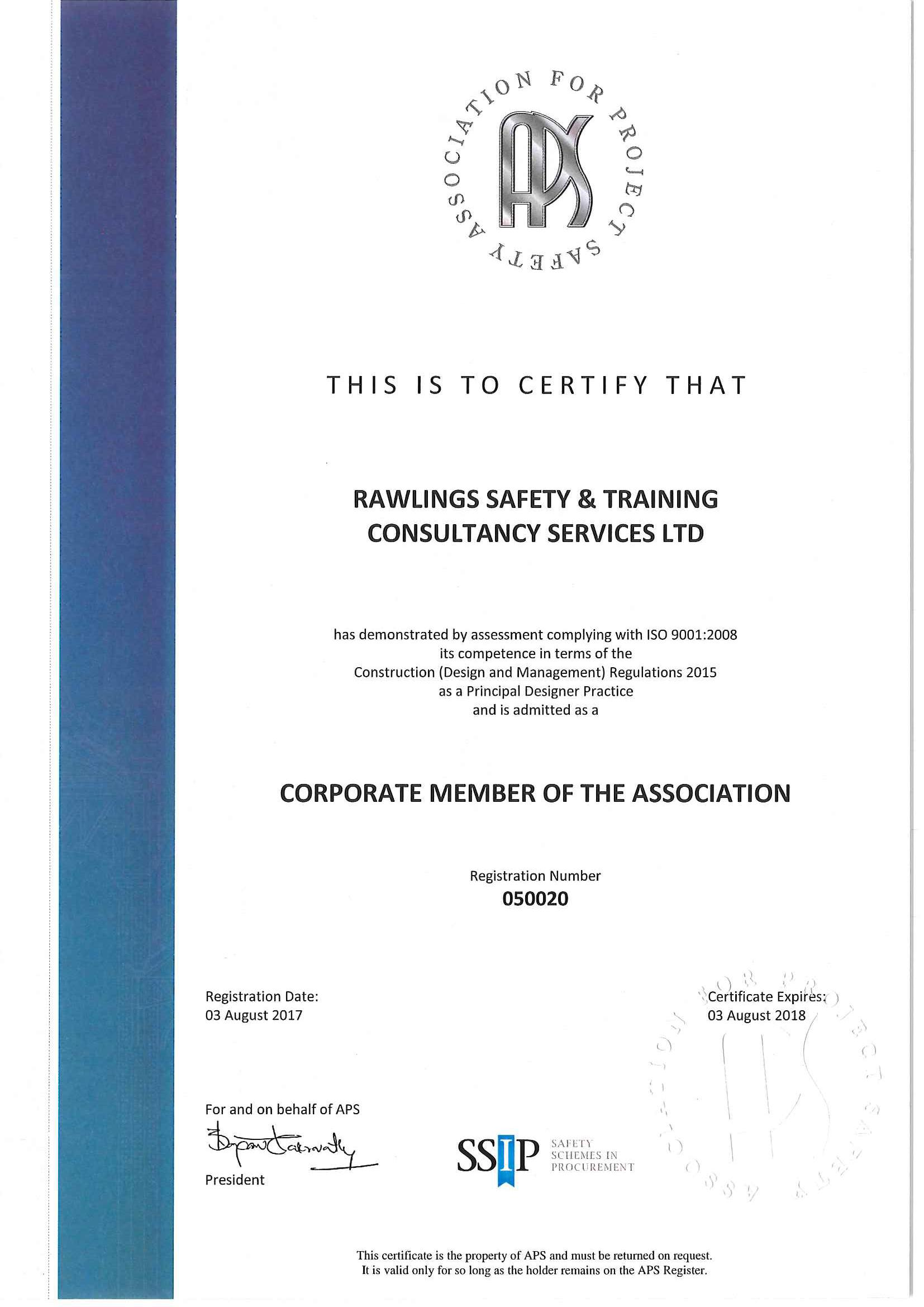 APS Corporate Certificate_